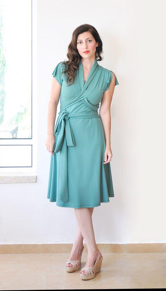 Green Summer Dress, Short Sleeve Wrap Dress , Jersey dress