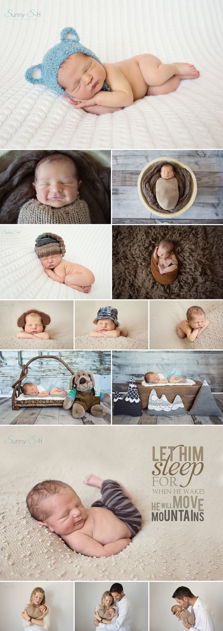 7 day old Thatcher and his studio newborn photo shoot. Sunny S-H Photography
