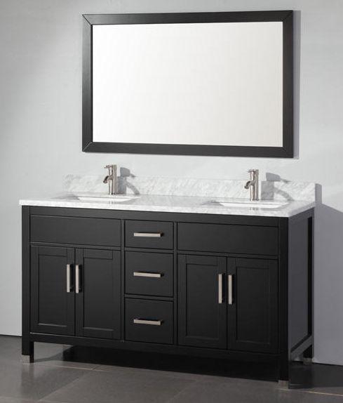 Adelina 60 inch Contemporary Espresso Finish Double Sink Bathroom Vanity