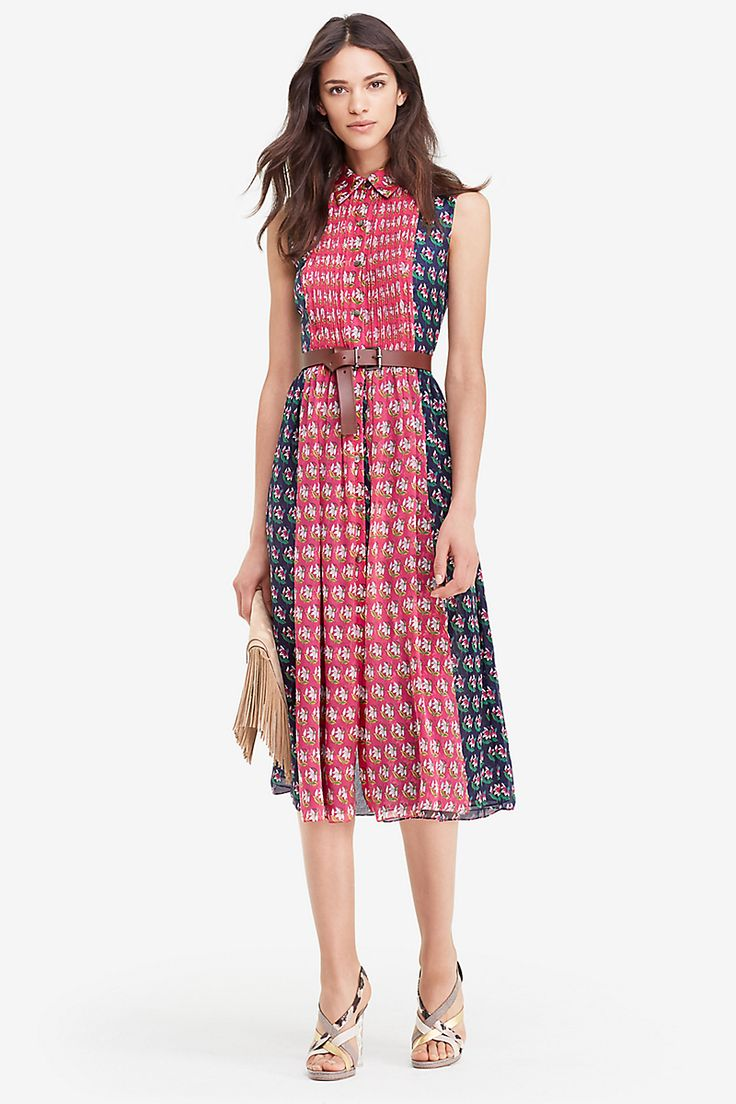 One of our favorite looks from the Spring campaign, the DVF Nieves dress brings an ideal mix of ease and polish. A layered shirtdress with great movement and an angular collar, the DVF Nieves can be worn alone, or paired with the brown leather belt for the full runway look. Full button front. Belt and lace top is sold separately. Falls to the knee. Fits true to size.