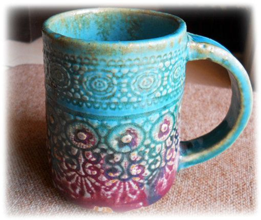 A beautiful turquoise violet, sweet lace imprint handmade ceramic mug