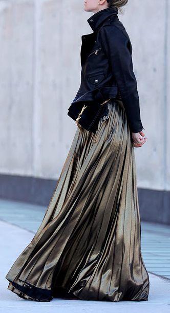 Gold pleated maxi dress + leather jacket