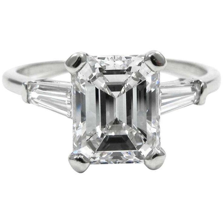 Van Cleef & Arpels GIA Report D color VS1 2.20 Carat Emerald Cut Diamond Ring 1