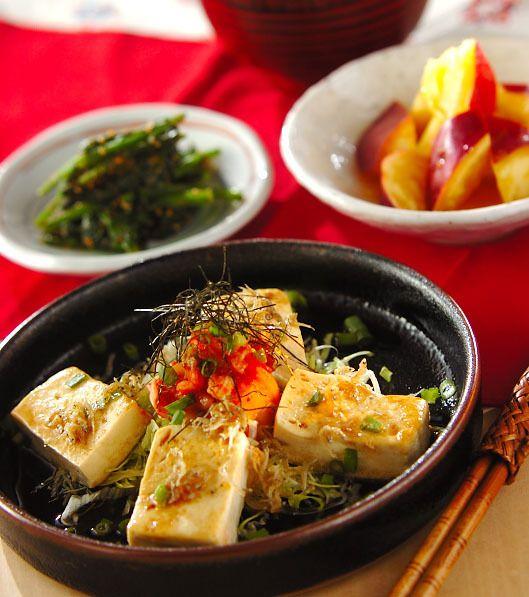 「豆腐ステーキキムチのせ」の献立・レシピ - 【E・レシピ】料理のプロが作る簡単レシピ/2014.12.25公開の献立です。