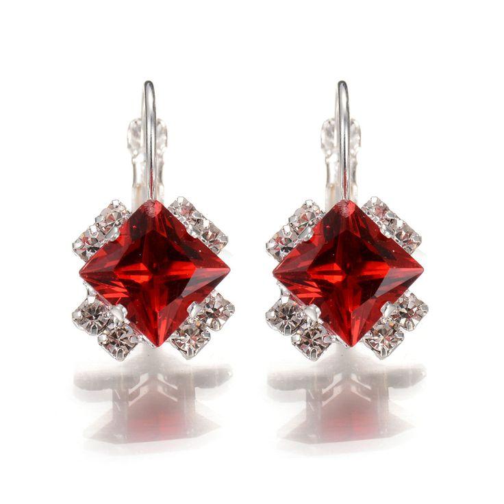 2016 New Fashion Women Water Drop Red Crystal Rhinestones Rhombus Drop Earrings Best Friends Gift Hanging Earrings Wedding