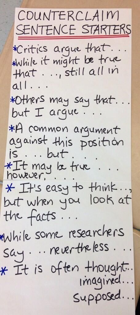These are key in teaching argumentation. Argument: Counterclaim sentence frames