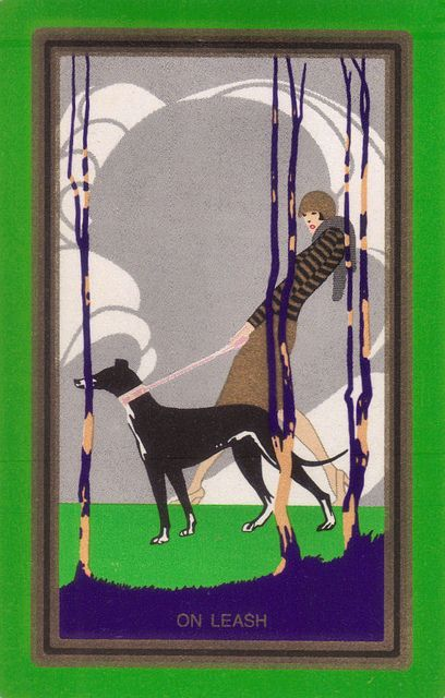 Art Deco card On Leash | by katinthecupboard