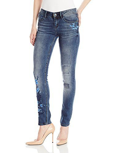 Desigual Women's Denim_irene Jeans Blue jeans with blue floral embroidery up the legs, distressed patches and zip up back pocket with tassle.Blue jeans with blue floral embroidery up the legs, distressed patches and zip up back pocket with tassle.