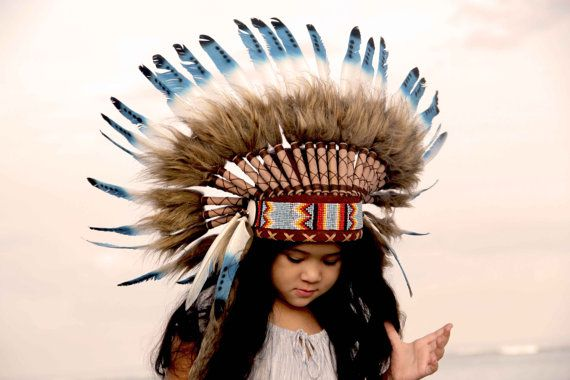 Penacho indio infantil corto plumas azules y por etnikabali