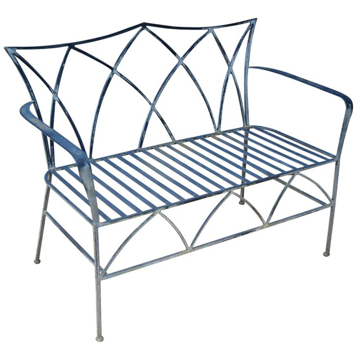 Wrought Iron Bench at 1stdibs