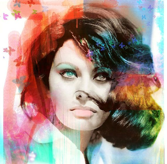 Mixed media print of one of the most beautiful women who ever lived! From the fabulous retro era of the 1960s. this painting mixed media piece adds a