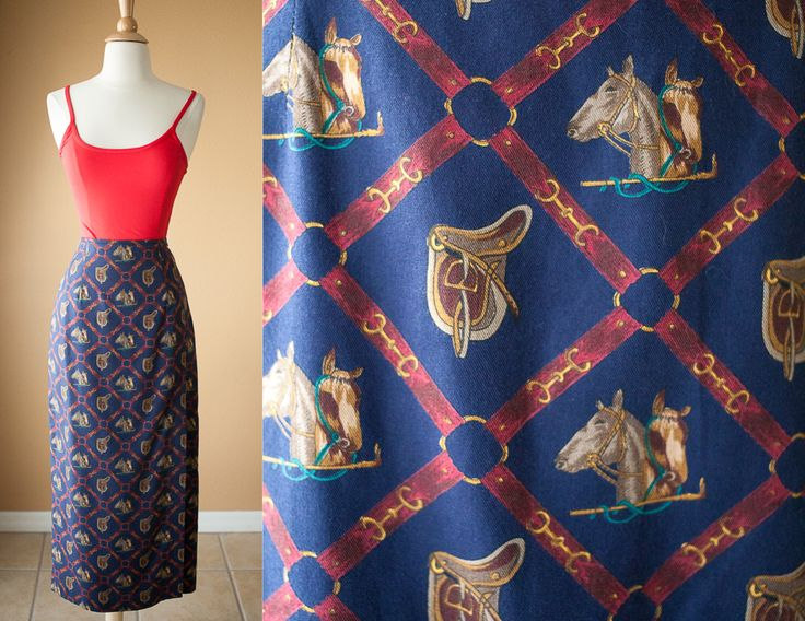 Vintage Horse Print Skirt | Faux Wrap Skirt High Waisted Skirt Equestrian 80s skirt Bit & Bridle Polo Gold Chains Baroque Skirt Maxi Preppy by BlueHorizonVintage on Etsy https://www.etsy.com/listing/210671126/vintage-horse-print-skirt-faux-wrap