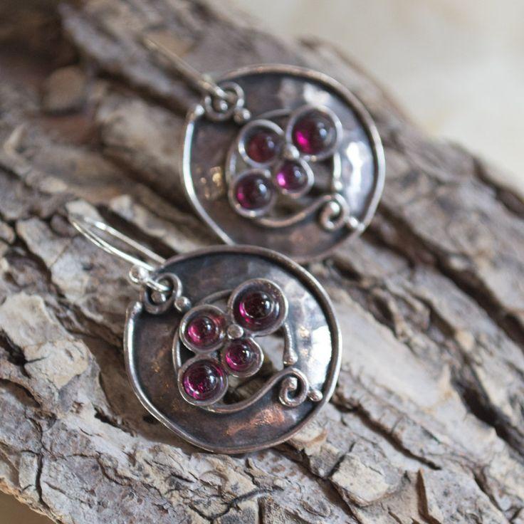 Bohemian Jewelry Dangle Earrings Pearl Garnet Silver Oxidized
