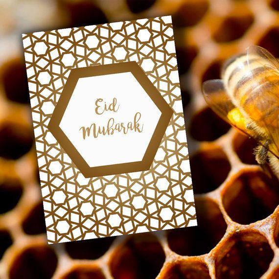 CARTE de vœux, 100 % recyclée enveloppe et « Graines pour BEE & vous »  Carte de voeux Aïd Mubarak. Partager avec vos amis…