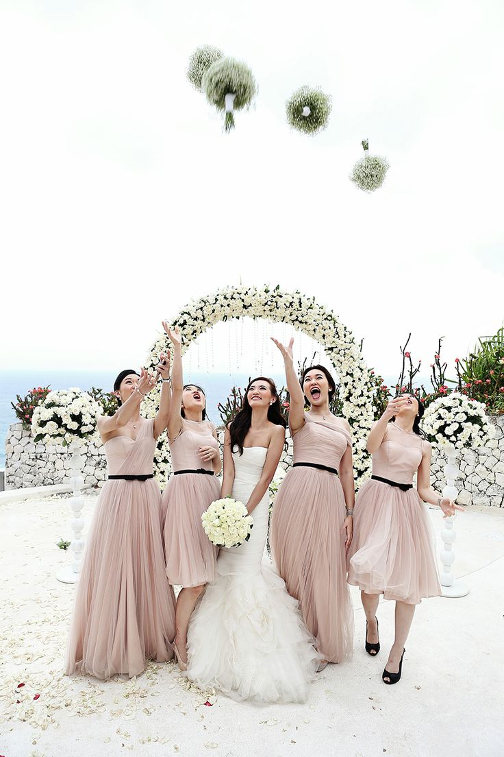 Nude/blush mismatched bridesmaid dresses // Jeremy and Ivon's Wedding at Banyan Tree Ungasan Bali