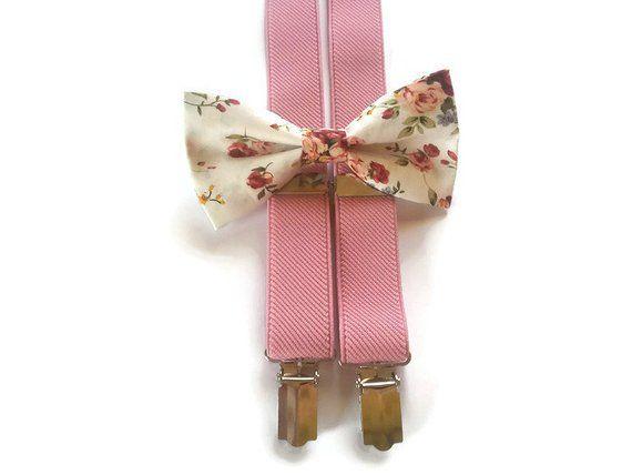 Wedding suspenders Groomsmen Bow ties for Men Pink floral suspenders Ring bearer outfit Boys Floral suspenders