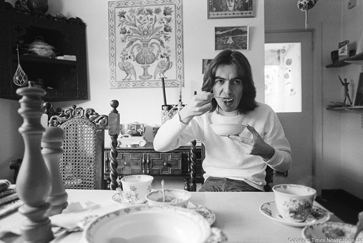 George Harrison pictured at his home in Esher, Surrey. 6th April 1969