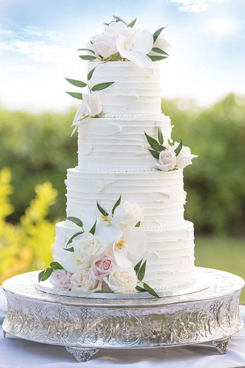 MERRY BRIDES – Atemberaubende florale Hochzeitstorte Ideen #whiteweddingcake #floral …   – Wedding cake