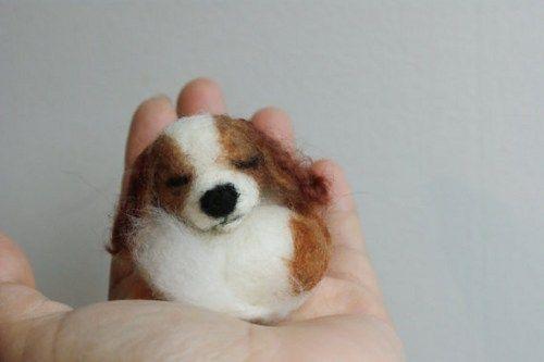 needle felted sleeping little dog Cavalier King Charles Spaniel brooch