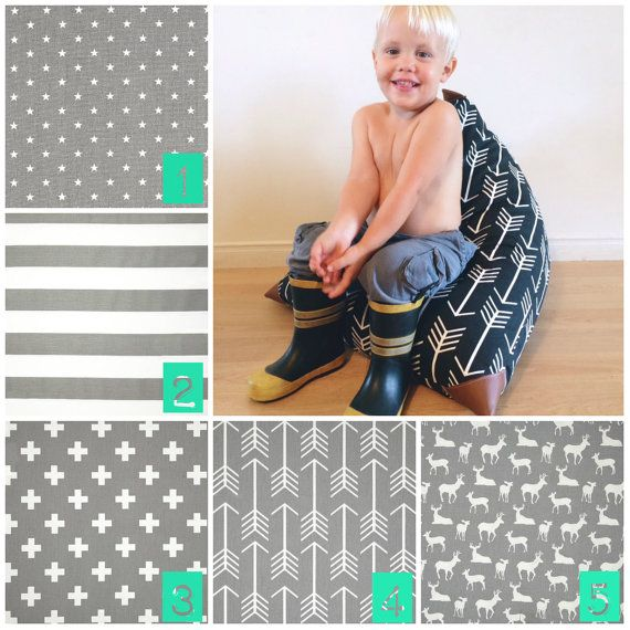 Choose Your Fabric Kids Bean Bag  Pouf  Grey and by Cyandegre