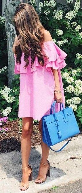 Off the Shoulder Pink Dress                                                                             Source