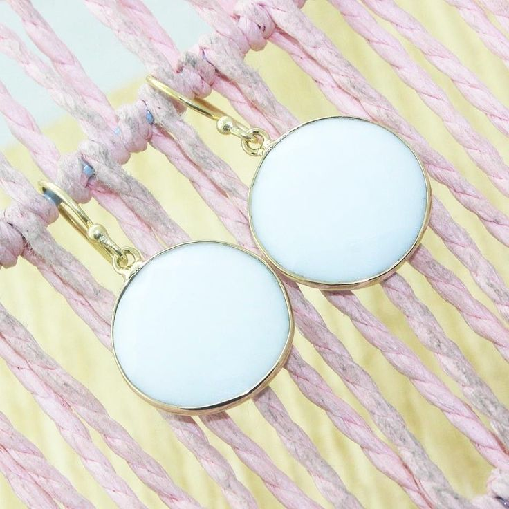 D10496 Exclusive Sale Round Shape White Agate 24k Gold Plated Earring Jewelry #Handmade #DropDangle #CasualParty