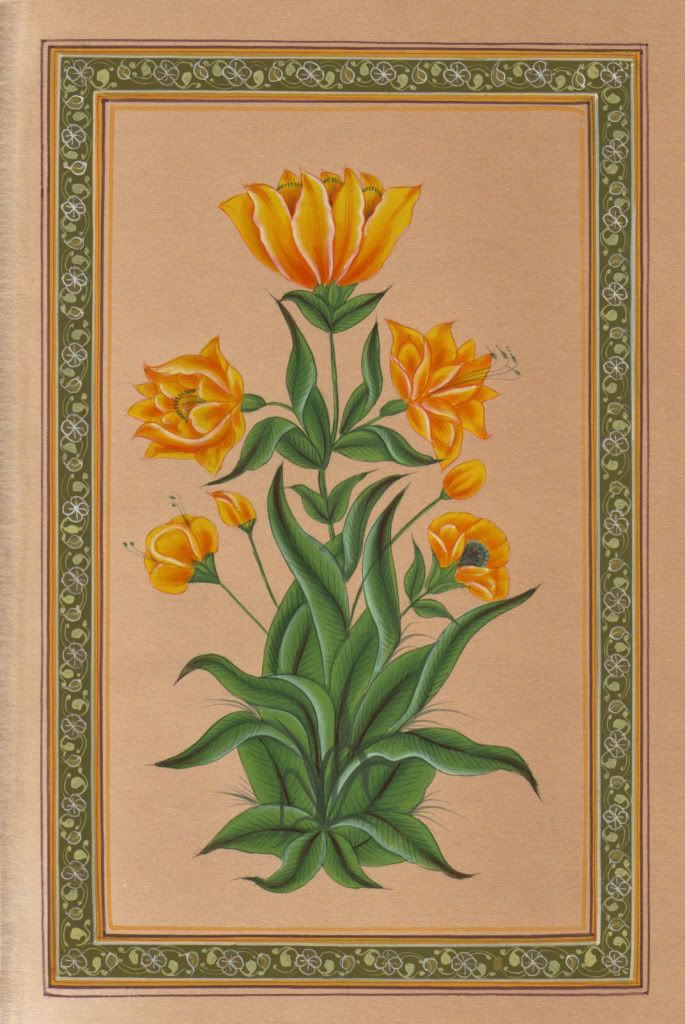 From the 17th century onwards, under the Mughal dynasty, flower and leaf forms became a popular art subject. This is partly due to the personal taste of the Mughal emperor Jahangir (1605-1627) who had a great love of nature and was very interested in capturing plants and animals on paper.