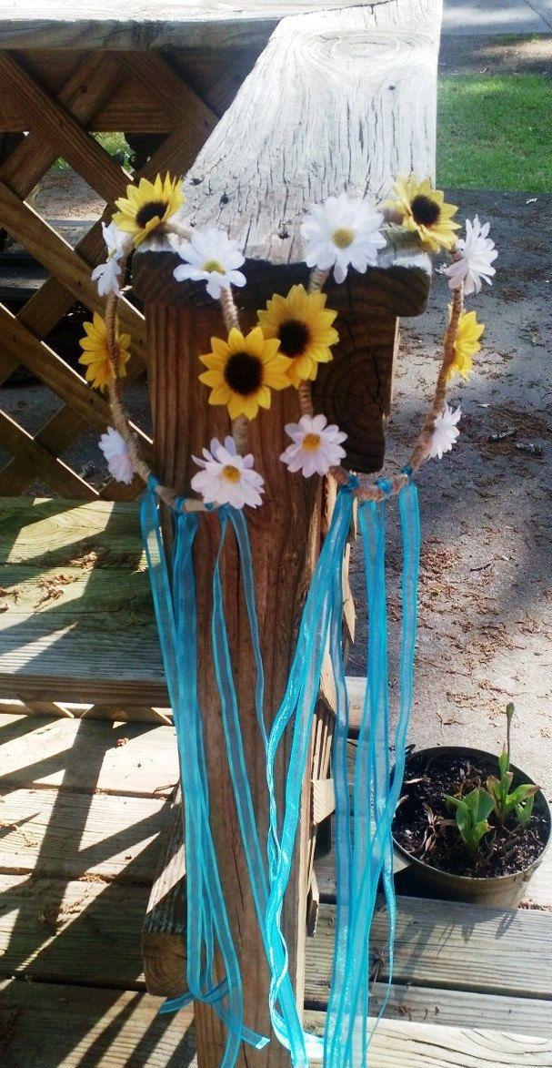 Hair Wreath, Sunflower Daisy Hair Wreath, Flower Girl Hair Wreath, Bridal Hair Wreath, Hair Bow, Flower Girl Bow, Sunflower Hair wreath by SilkFlowersByJean on Etsy