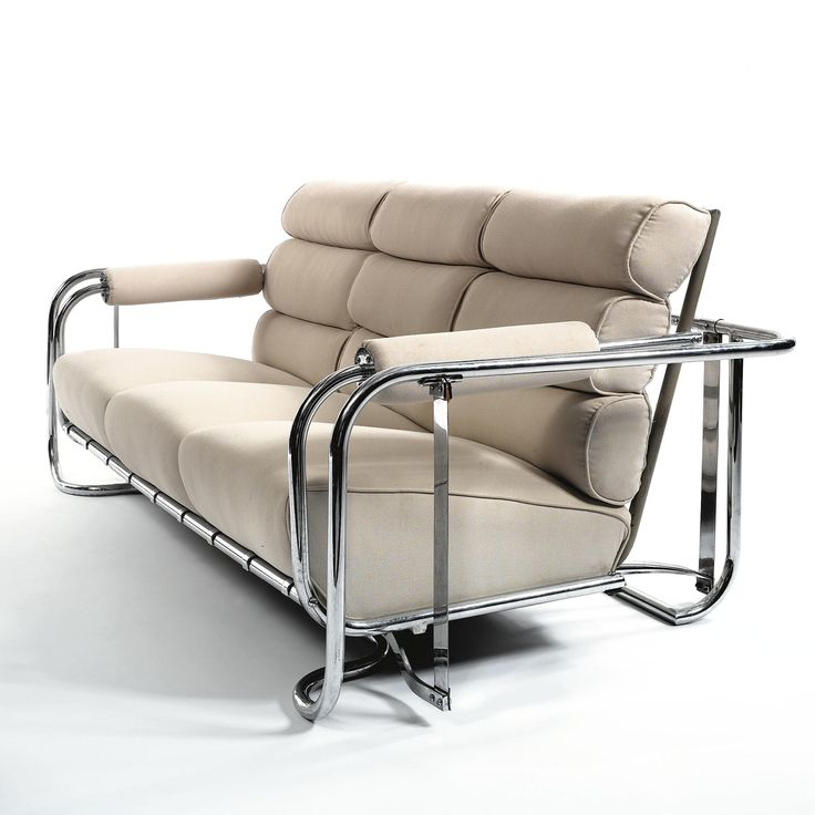 Gilbert Rohde Gliding Settee Model H 35 Chromium Plated Metal Steel And Fabric Upholstery 32 1