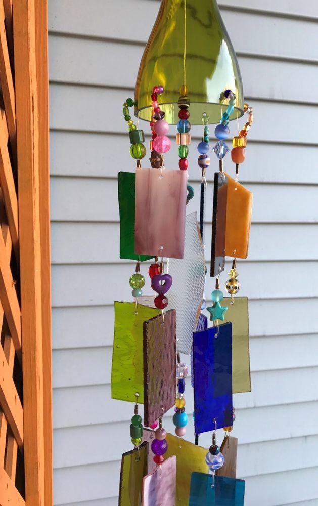 Wind Chime Sun Catcher Stained Glass Wine Bottle. Rustic Garden Art!