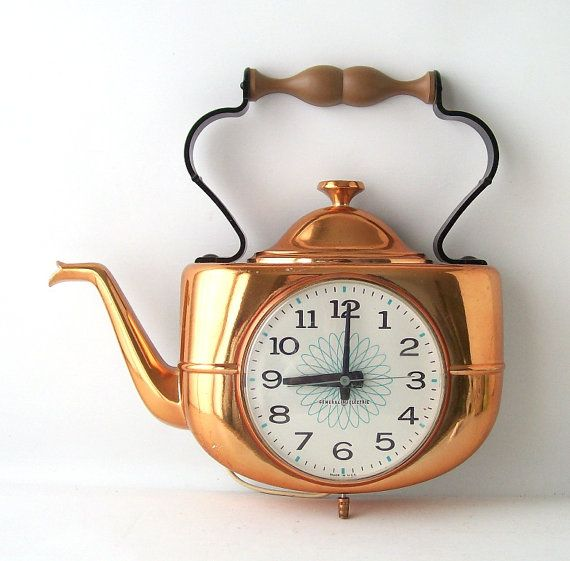 Vintage Ge Wall Clock Kitchen Teapot Copper Electronic