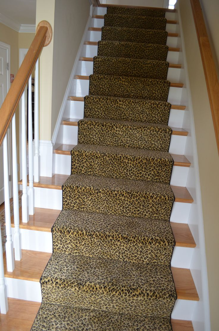 Cheetah print stair runner installed in Belmont, Ma. http://carpetworkroom.