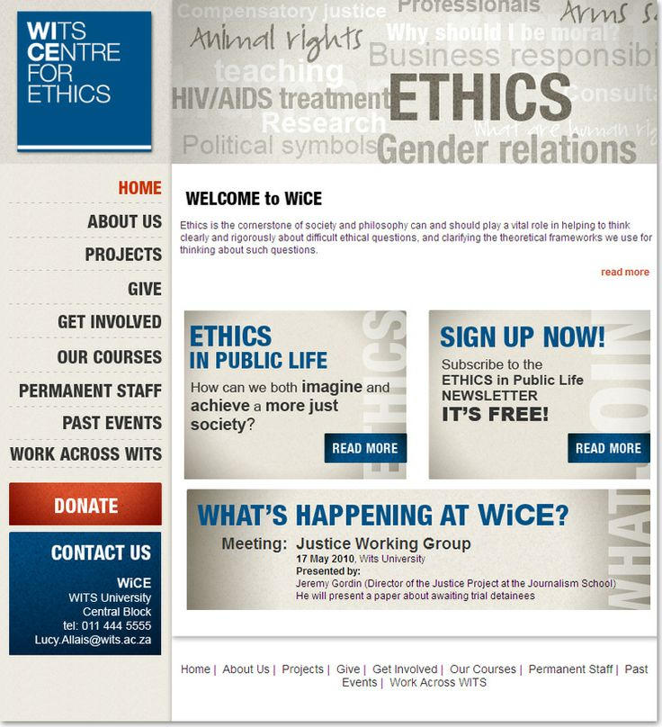 Community website design for WiCE, Wits Centre for Ethics