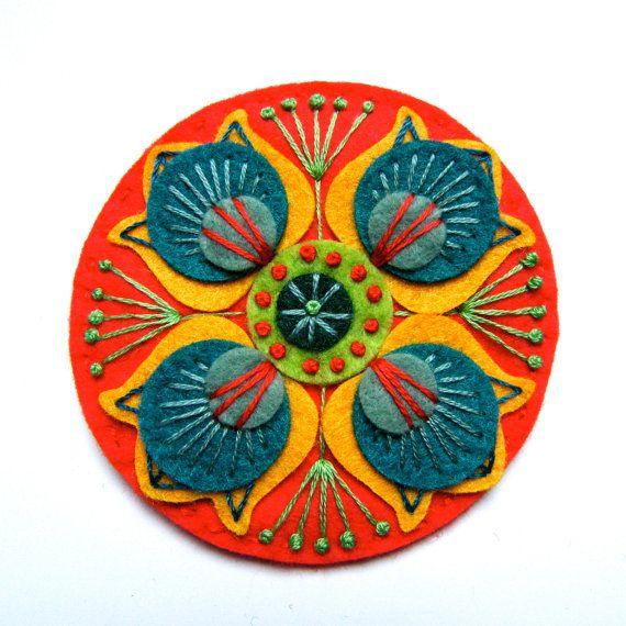 MARRAKECH felt brooch pin with freeform embroidery - scandinavian style - Etsy