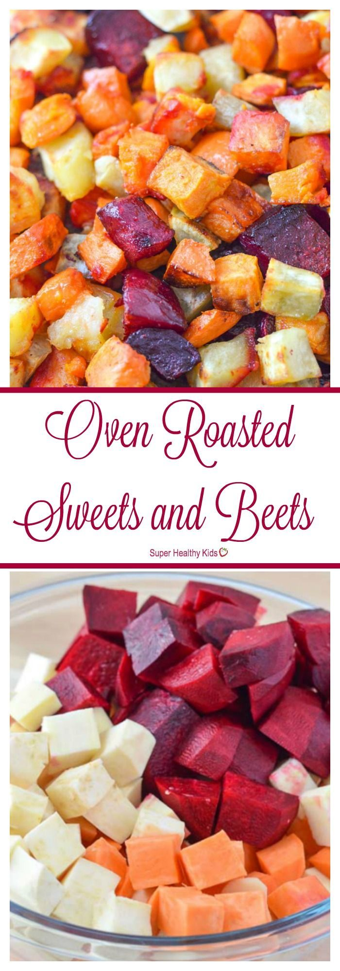 FOOD - Oven Roasted Sweets and Beets. A beautiful veggie side dish for your next dinner! http://www.superhealthykids.com/oven-roasted-sweets-beets/