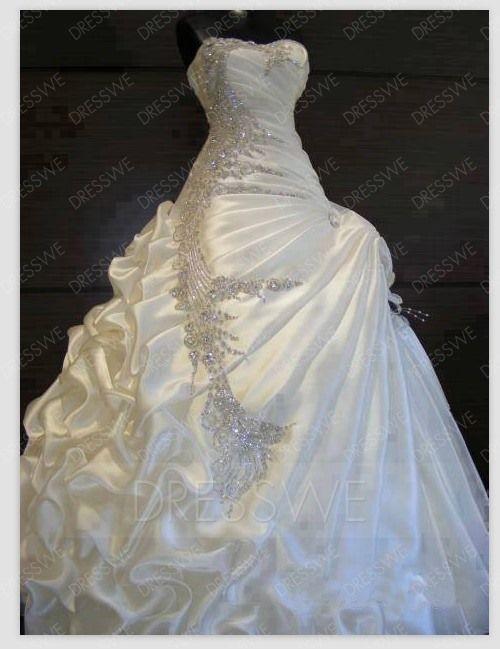 Exquisite Sweetheart Ruffles Beading Ball Gown Wedding Dress