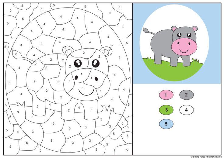 Lär dig räkna till fem genom att färglägga flodhästenefter numren. Du får jättegärna ladda ner och färglägga denna bild för privat bruk och som till exempel skolmaterial. Däremot får du inte ladda...