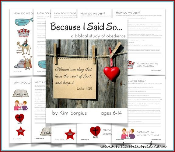 Struggling to help your kids get the whys and hows of obedience? Kim at Not Consumed has a great new resource for you. It's called Because I Said So and it helps you take your kids on a journey through stories in the Bible to understand different aspects of obedience.