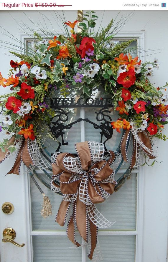 Summer Western Welcome Wreath by HangingTouches on Etsy, $111.30