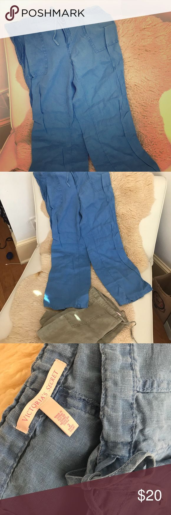 Victoria's Secret Short/Petite Linen Pant linen pant by Victoria's Secret in sky blue. 2nd pair in olive green. never worn. lightweight, elegant, chic, for the woman who makes style happen. size 2/short. drawstring waist. perfect summer/spring and/or caribbean getaway beachwear. bundle and save! 2 for $30😻 PINK Victoria's Secret Pants Capris