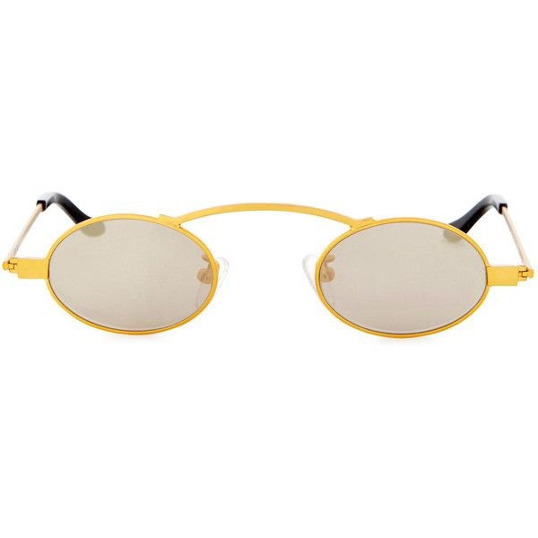 ROBERI AND FRAUD Doris Gold Round-frame Sunglasses ($270) ❤ liked on Polyvore featuring accessories, eyewear, sunglasses, uv protection glasses, gold mirrored sunglasses, gold mirror sunglasses, round frame sunglasses and mirrored sunglasses