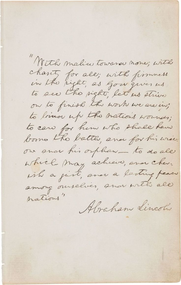 Found on the second blank leaf of a 170-page autograph book, Lincoln wrote out his speech's final passage in 13 lines of text and signed it for the 10-year-old son of John Palmer Usher, a cabinet member. Lincoln was assassinated six weeks later. #history #historicalletters