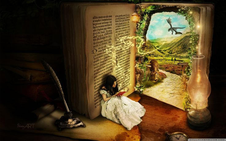#Book of Secrets: #Books are the plane, and the train, and the road. They are the destination, and the journey. They are home. ― Anna Quindlen #quote; #fantasy #art by Donika Nikova ♥ #reading