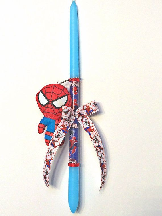 Greek Wedding Shop - Spiderman Plush Easter Candle. Easter Candles to hold the night of Anastaci (http://www.greekweddingshop.com/spiderman-plush-easter-candle/)