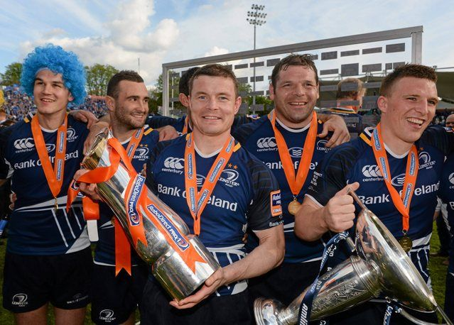 The PRO12 trophy and Amlin Challenge Cup belong to Leinster.