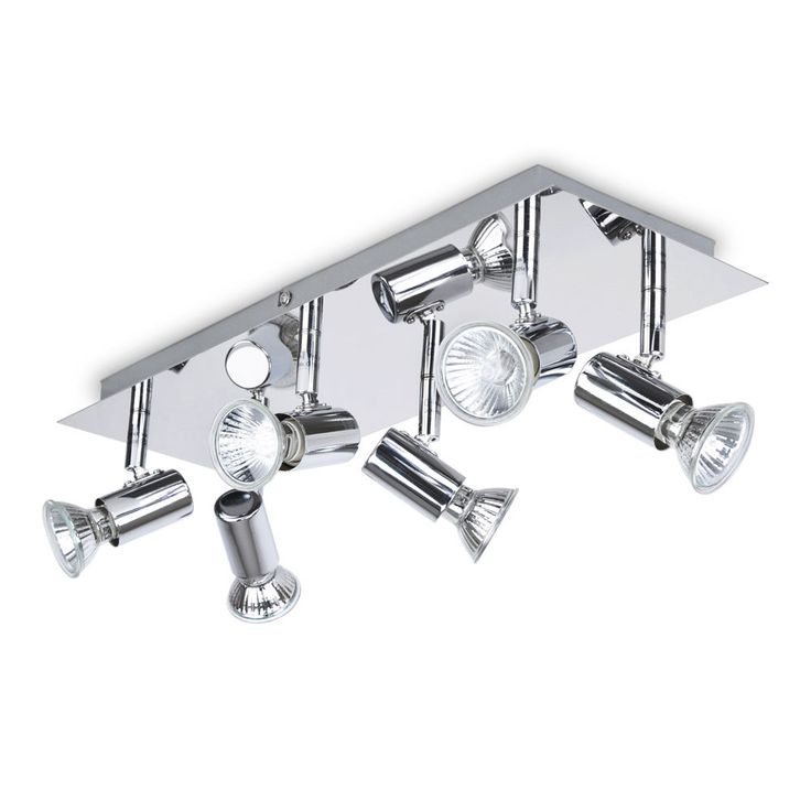 Large Modern Silver Chrome 6 Way Kitchen Ceiling Spot