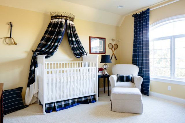 Preppy Plaid Nursery with Navy Accents
