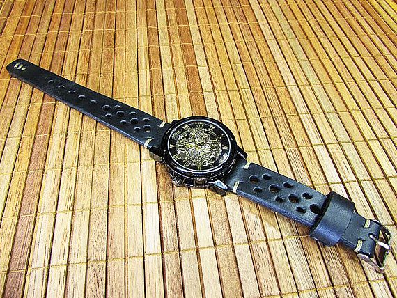 Handmade Rally Watch Strap black leather, Watch Strap 18mm, 20mm, 22mm, 24mm, Unisex black watch strap, Watch strap with Black Itallian Leather, 015  100% handmade watch strap. Rally Strap was designed for the racing enthusiast. Handsome looking on a Omega, Breitling, Rolex, Panerai, Chopard , Audemars, Seiko, or whatever watch you have. The strap with the most fashion racing / rally strap pattern, all stitching are handmade. Black colour watch strap carefully constructed using only nat...