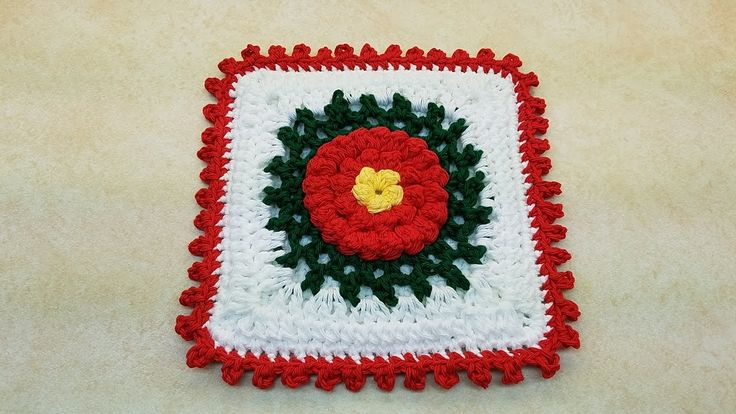 Learn How To #Crochet Bobble Flower Granny Square Potholder Hot Pad Dish...