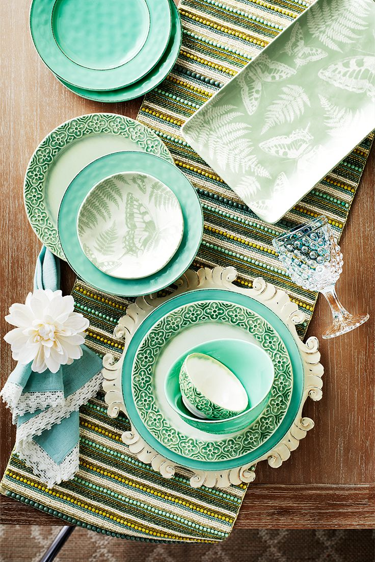 You can set a garden-fresh table any time of year with splashes of green and reminders of spring. Mix and match Pier 1 dinnerware colors and patterns for a butterfly-attracting tablescape.